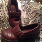 BORN WOMEN'S Brown GENUINE Leather Clogs SHOES SIDE BUCKLE Size 7.5 / 38.5