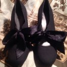 ANN MARINO WOMEN'S BLACK RIBBED MARY JANE HEELS SIZE 6M BOW TIE MENSWEAR PUMPS