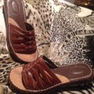 Dr Scholls Women's Brown Leather Woven Wedge Sandals Slip On's Slides Sz. 6M