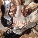NINA WOMEN'S BLACK FABRIC W/ FAUX DIAMONDS SLIP ON HEELS SHOES SIZE 7M MRSP $78