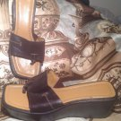 NINE WEST WOMEN'S LOCAO BROWN LEATHER THONG WEDGE SANDALS SHOES SIZE 7.5M