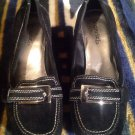 CABRIZI WOMEN'S BLACK SUEDE LEATHER WEDGE BUCKLE SHOES MADISON SZ 6M MRSP $79