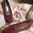 ENZO ANGIOLINI LIBERTY WOMEN'S LEATHER CROC BROWN/BROWN SHOES SZ 8M BRAZIL