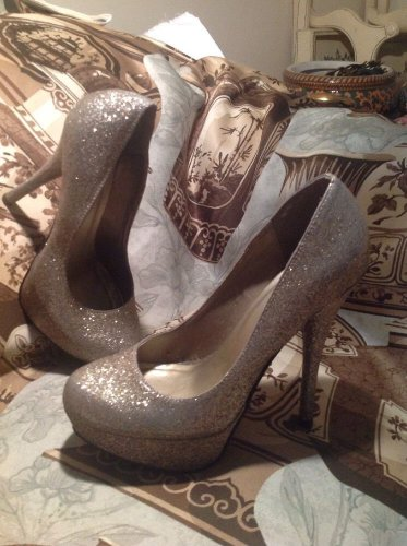 MY DELICIOUS GOLD Glitter High PLATFORM Stiletto Heel Round Toe Pumps SIZE 7M