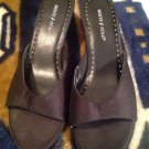 White Stag - Women's Black Satin Upper Mule Open Toe Slides Heels Sz. 5.5M