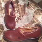 BORN CONCEPT WOMEN'S BROWN LEATHER SLIP ON CLOGS WEDGE HEELS SHOES SIZE 7M/38