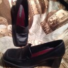 WESTIES SIGURD WOMEN'S BLACK SLIP ON BLOCK HEELS SLIP ON LOAFER SHOES SIZE 8M