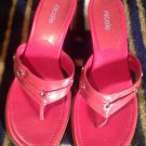 NICOLE  WOMEN'S PINK Thong Sandals Shoes LEATHER Sz 7.5M MADE IN BRAZIL