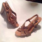 NICOLE LOVELY Women's Brown Suede Leather Wedge Peep Toe Slingback Sandals 6.5M