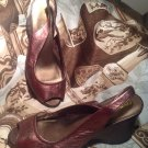 WOMEN'S ME TOO SYD BROWN SLINGBACK LEATHER OPEN TOE WEDGE SHOES SIZE 7M MRSP $68