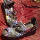 Bernie Mev LULIA Rainbow Multi Color Woven Peep-Toe Mary Jane WOMENS EU 39 US 9M