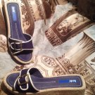 ~NEW~KEDS WOMEN'S NAVY BLUE CANVAS OPEN TOE SLIDES FLATS SANDALS SHOES SIZE 7.5M