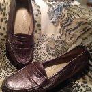 SAS Pewter Leather Tripad Comfort Penny Loafer Pebbled Womens 7.5M MRSP $129