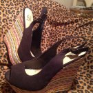 Women's Size 7M Delicious Black SUEDE WEDGE W/MULTI COLOR WOVEN HEELS SHOES