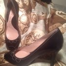 NEW GIANNI BINI SIZE 9M BLACK LEATHER PEEP TOE HEELS PUMPS SILVER BEAD ACCENTS