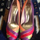 SILK, MULTI-COLORED J. RENEE DESIGNER WOMEN'S 7.5M SHOES, IN PERFECT CONDITION