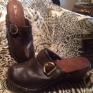 White Mountain Clogs Women's Shoes High Heel Brown Brass Buckle 8M MRSP $54