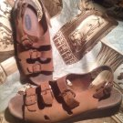 DR SCHOLL'S WOMEN'S BROWN LEATHER DADELAND 11 ADJUSTABLE STRAPS SANDALS SIZE 9M