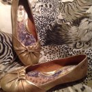 BORN HANDCRAFTED FOOTWEAR Gold Leather Slip On Ballet Flats WOMENS 7 M/W NEW