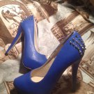 SHOEDAZZLE WOMEN'S 7.5M ROYAL BLUE HIDDEN Heels Platform Pumps Spikes Shoes
