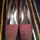 NATURALIZER WOMEN'S HEELS BROWN LEATHER STRETCH MATERIAL TOP JANET 7.5M PUMPS