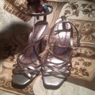 GIANNI BINI SANDALS GRAY STRAPPY SANDALS ANKLE STRAP WOMEN'S SIZE 6M HEELS
