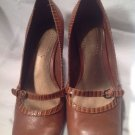 Nine West Mary Jane Brown Leather Square Toe Kitten Heel Loafers Women's Sz 7.5M