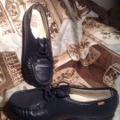 GENUINE SAS HANDSEWN SIZE 9.5M NAVY BLUE LEATHER WEDGE LACE UP LOAFER SHOES NICE