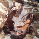 Paper Fox WOMEN'S  GREEN & TAN Platform Sandals GOLD Stiletto Heels SIZE 6.5M