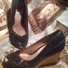 AEROSOLES KIN SHIP WOMEN'S BLACK BUCKLE PUMPS ADJUSTABLE STRAP ACROSS TOE SZ 7M