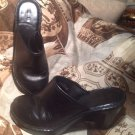 BORN BLACK Hand Crafted Leather Mules Wedge Slip On Heels W61016 Womens Sz 8M/39