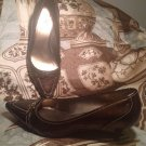 WORTHINGTON WOMEN'S BROWN SIZE 7M BROWN POINTY PUMPS SHOES BUCKLE ACCENT SIZE 7M