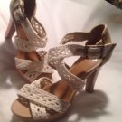 Gianni Bini Sz 8M Womens White Woven Fabric Rope Jute Cork Stacked Heel Sandals