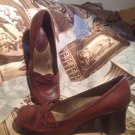 NINE WEST HARLIN WOMEN'S BROWN LEATHER CAREER PUMPS SIZE 7.5M CHUNKY HEELS