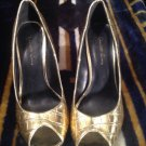 Charlotte Russe PADDY Women's GOLD Pumps HEELS SHOES SZ 6M PEEP TOE BEAUTIFUL