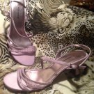 UNLISTED Women's Lilac Satin Rhinestone Slingback Strappy Sandals Heels Sz 9.5M