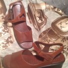 ECCO WOMEN'S SZ 41/10.5M BROWN LEATHER ANKLE STRAP SANDALS VELCRO DISPLAY SHOES