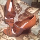 PLENTY by TRACY REESE WOMEN'S BROWN LEATHER TWO STRAPS OPEN TOE PUMPS HEELS 7M