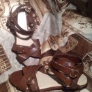 FADED GLORY WOMEN'S BROWN ANKLE STRAP OPEN TOE SANDALS FLATS SHOES SIZE 8M