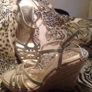 BCBG Paris Leather Gold Metallic T STRAP Slip On Wedge HEEL Mules 8M