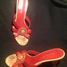 WOMEN'S SANDALS SHOES SZ 7.5M MICHELLE D RED LEATHER SEED BEAD ACCENTS CORK HEEL