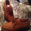 """SHARP!!~ """"ALFANI PAOLO """" TAURUS MEN BROWN LEATHER  LACED UP SHOES SZ 7.5M ITALY"""