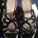 Cute! BLACK Women's Moda Spana Peep Toe Patent Wedge Heel Sandals Shoes size 7M
