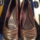 Faded Glory Womens SZ 7.5 M Slip On Dress Shoes Wedges Heel Brown Leather New