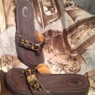 DR SCHOLL'S WOMEN'S BROWN LEOPARD PRINT STRAP THONG SANDALS W/ BUCKLES Size 7M