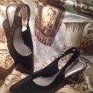 Ros Hommerson Women's Kaitlin BLACK Slingback Pumps Heels SHOES Size 7M MRSP $89