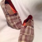 "Women's Skechers BOBS - ""Support"" Casual Alparagata Shoes Brown Plaid 9M Nice"