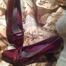 WOMEN'S RELATIVITY PURPLE PUMPS SHOES TRIPLE BUCKLE PATENT SIZE 8.5M