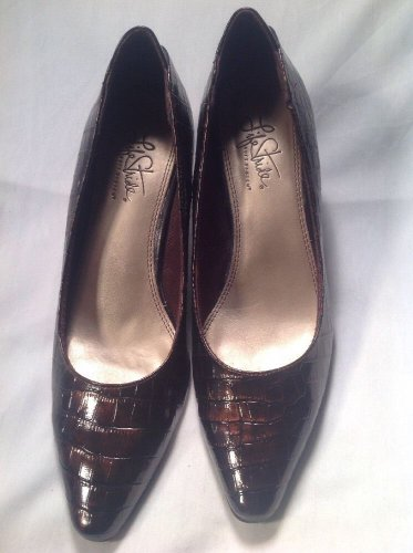 Women's LifeStride Klarissa Faux Croc Skin Brown LEATHER PUMPS Sz 7.5M MRSP $69