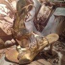 "PIERRE DUMAS RHINESTONE WOMEN'S 3"" HEELS GOLD CRACKLE ANKLE STRAP SANDALS SZ 9M"